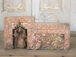 19th Century Architectural Carved Panel with 2 Peacocks
